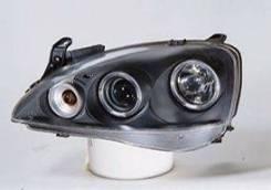 ФАРА Левая+Правая (Комплект) Тюнинг Линзованная С 2 Светящимися Ободками Внутри Черная Opel Corsa - C 2000-2006 [SK3300-COS01-JM]