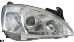 ФАРА Левая+Правая (Комплект) Тюнинг Линзованная С 2 Светящимися Ободками Внутри Хромированная Opel Corsa - C 2000-2006 [OP046-B2WCW]