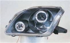 ФАРА Левая+Правая (Комплект), Тюнинг, Линзованная, С 2 Светящимися Ободками , Внутри Черная Honda / Acura Honda Prelude 1997-2000 [SK3300-PL97-JM]