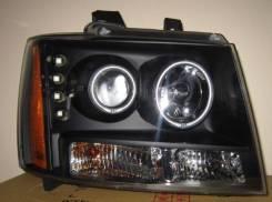 ФАРА Левая+Правая (Комплект) Тюнинг Линзованная С Светящимся Ободком С Диодами БЕЗ Корректор Внутри Черная Chevrolet / GMC Chevrolet Yukon - Suburban - Tahoe - Avalanche 2007-2011 [GM425-B1WCA]