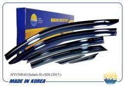 Ветровики Дефлекторы окон Hyundai Solaris II 17- (компл 6шт) брак! скол на переднем правом ветровике