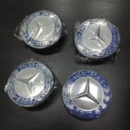 4шт Колпаки для дисков Mercedes 75мм комплект синие