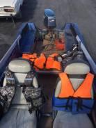 Моторная лодка + телега + гараж