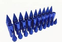 Гайки Синие колесные тюнинг,12,1,5, алюминий, Пуля комплект 20 шт.