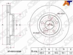 Диск тормозной Toyota, Диски Тормозные SAT ST-43512-32300, передний