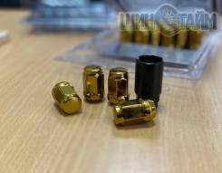 Новые гайки 12х1,5 золото 20шт +1 ключ