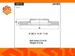 Диск тормозной Advics C6F110B передний (Япония)