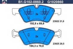Колодки тормозные дисковые, Mercedes-Benz Galfer B1G10208602
