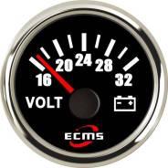 Вольтметр ECMS аналоговый, 16-32 Вольт (нерж/черн)
