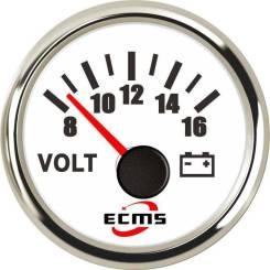 Вольтметр ECMS аналоговый, 8-16 Вольт (нерж/бел)