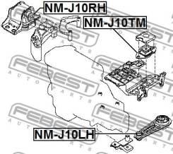 Подушка коробки скоростей Febest NMJ10TM