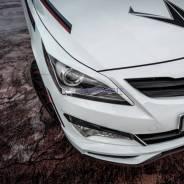 Реснички накладки ZEUS на фары Hyundai Solaris рестайлинг 2014-2017г