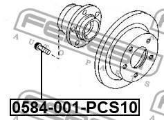 Комплект шпилек колесных (10 шт) Febest 0584001PCS10
