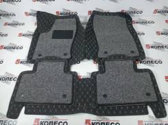 3D ковры в салон левый руль Lexus NX200/300 черные с золотой (002)