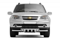 Защита переднего бампера двойная с зубьями 63/63 мм Chevrolet NIva