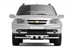 Защита переднего бампера двойная с кругл. зубьями Chevrolet Niva