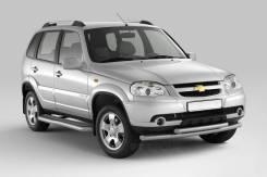 Защита порогов с алюм. фигурной площадкой 63мм Chevrolet NIVA с 2009