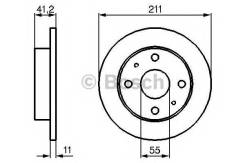Диск тормозной Daihatsu: Charade 03 -, Cuore III 90-95, Cuore VI 98-03, Cuore VII 03 -, Cuore VIII 07 -, Trevis 06- Bosch 0986479119