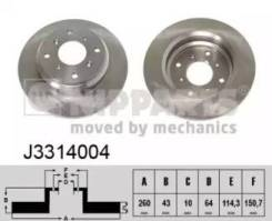 Торм. диск зад. [260x10] 4 отв. Комплект из 2 шт. J3314004 (Nipparts — Нидерланды)