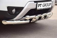 Защита переднего бампера двойная с зубьями 63/63мм на Renault Duster