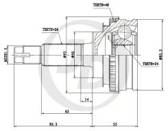 ШРУС SAT с АБС Toyota Camry / Ipsum / Corona 3S / 4S /
