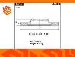 Диск тормозной Advics D6F141B передний (Япония)