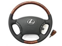 Оригинальный обод руля с подoгревом и косточкой под дерево Lexus