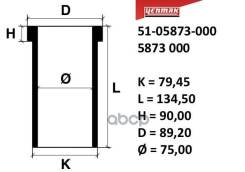 Гильза Цилиндра Peugeot =75mm 205 Gr-405-309-306 Tu 3 A, K2d, Xz5 Yenmak арт. 51-05873-000