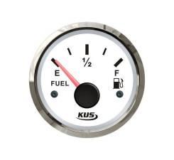 Указатель уровня топлива 0-190 Ом (ЕВРО), белый циферблат, нержавеющий ободок, д. 52 мм JMV00266_KY10100