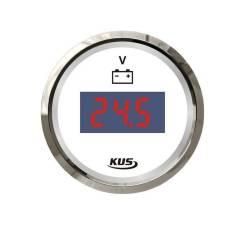 Вольтметр цифровой 8-32 В, белый циферблат, нержавеющий ободок, д. 52 мм JMV00287_KY23100