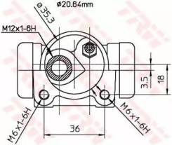 Цилиндр тормозной рабочий BWF166 (TRW — Германия)