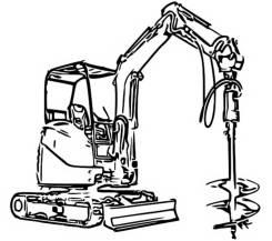 Услуги мини-экскаватора буровой на базе зкскаватора