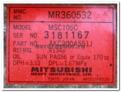 Компрессор кондиционера Mitsubishi Pajero Sport 2000 [MR360532] 3.0