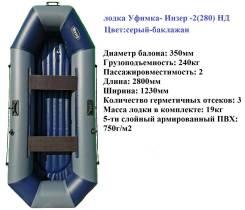 Двухместная гребная лодка ПВХ Уфимка- Инзер -2(280) НД надувное дно