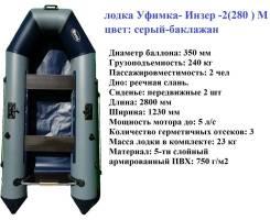 Двухместная надувная моторная лодка Уфимка- Инзер -2(280 ) М