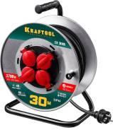 Удлинитель на катушке Kraftool К-315. 3700Вт. 30м, 4 гнезда, IP44.