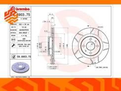 Диск тормозной Brembo 09890375 передний