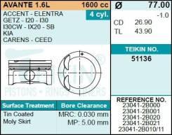 Поршень двигателя (4шт/упак) Teikin 51136-STD