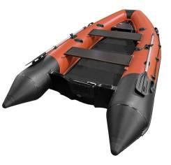 """Лодка РИБ (RIB) Буревестник """"Скаут 380"""", оранжевый-черный (корпус черн"""