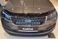 Skoda Karoq 2017 - темный SIM Дефлектор капота (Мухобойка)