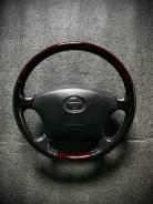 Руль Toyota темное дерево, кожа, чёрный